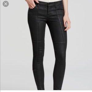 Free people black Moto skinny coated jeans. 25
